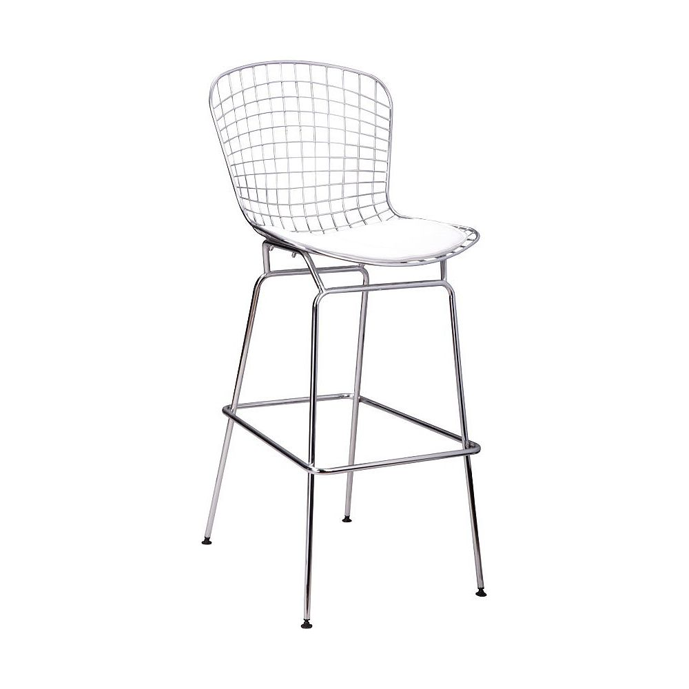 Mod Made Chrome Wire Barstool White Seat Pad