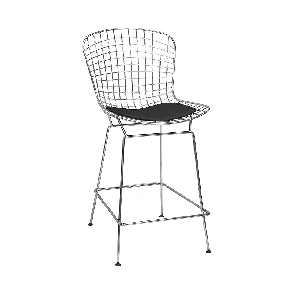 Mod Made Chrome Wire Counter Stool 4-Pack Black Seat Pad