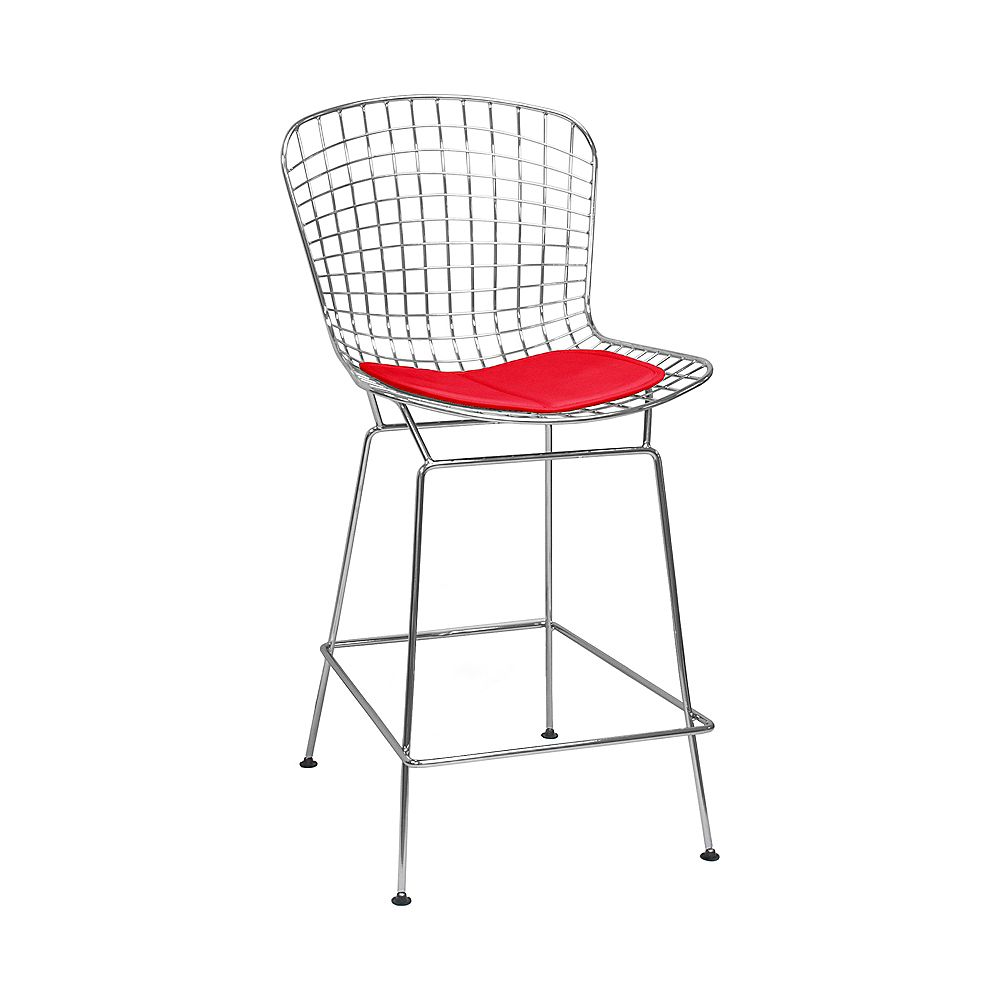 Mod Made Chrome Wire Counter Stool 2-Pack Red Seat Pad