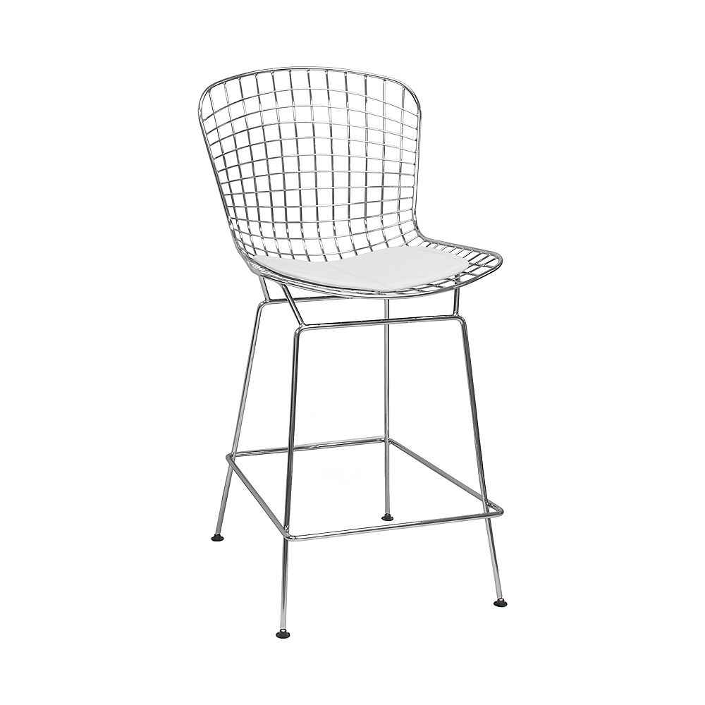 Mod Made Chrome Wire Counter Stool 4-Pack White Seat Pad