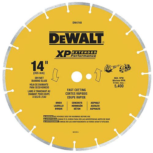 14-Inch Fast Cut Segmented Saw Blade with 1-Inch Arbor General Purpose (DW4748)