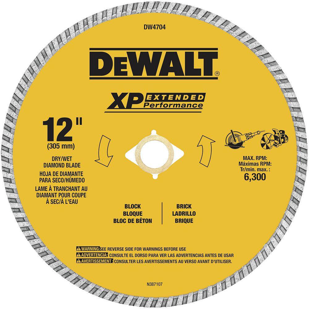 Dewalt Industrial 12-inch Dry Cutting Continuous Rim Diamond Saw Blade with 1-inch Arbor (DW4704)