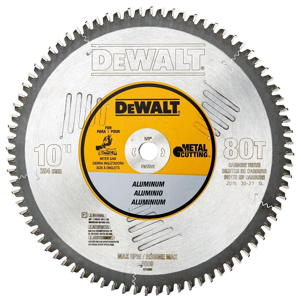 Dewalt 10-Inch 80T Aluminum Cutting Blade 5/8-Inch Arbor (DW7665)