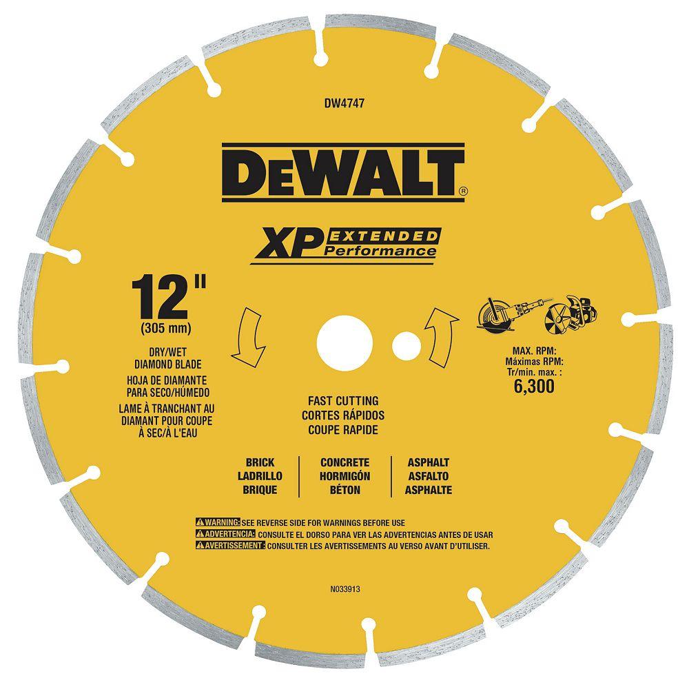 Dewalt XP 12-Inch Dry Cutting Diamond Segmented Saw Blade for Asphalt, Brick, and Concrete (DW4747)