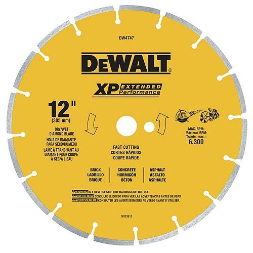 XP 12-Inch Dry Cutting Diamond Segmented Saw Blade for Asphalt, Brick, and Concrete (DW4747)