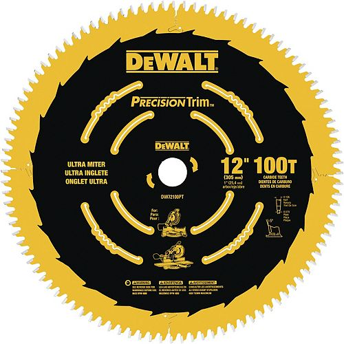 12-Inch 100T Ultra-Smooth Crosscutting Saw Blade (DW72100PT)