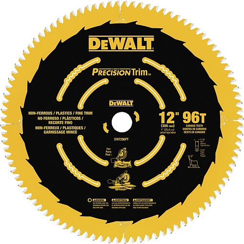 Precision Trim 12-Inch 96 Tooth ATB Crosscutting Saw Blade with 1-Inch Arbor (DW7296PT)