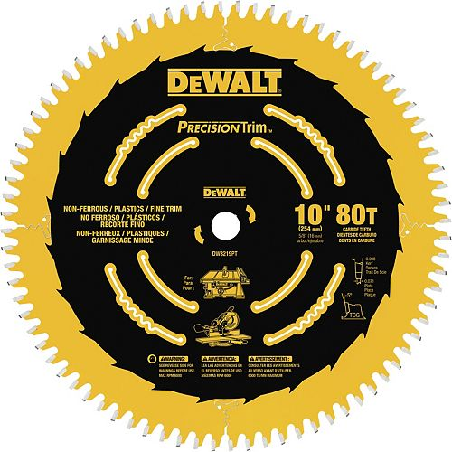 10-Inch 80T Fine Crosscutting Saw Blade (DW3219PT)
