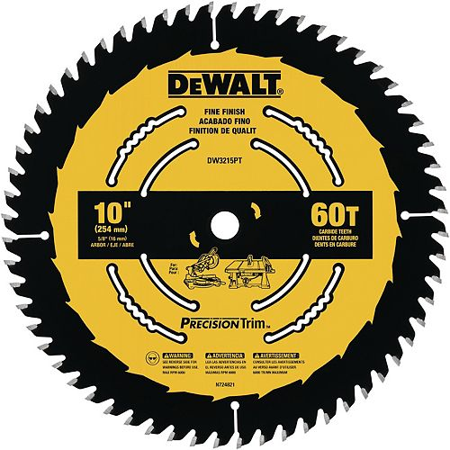 10-inch 60 Tooth ATB Crosscutting Saw Blade with 5/8-inch Arbor and Tough Coat Finish (DW3215PT)