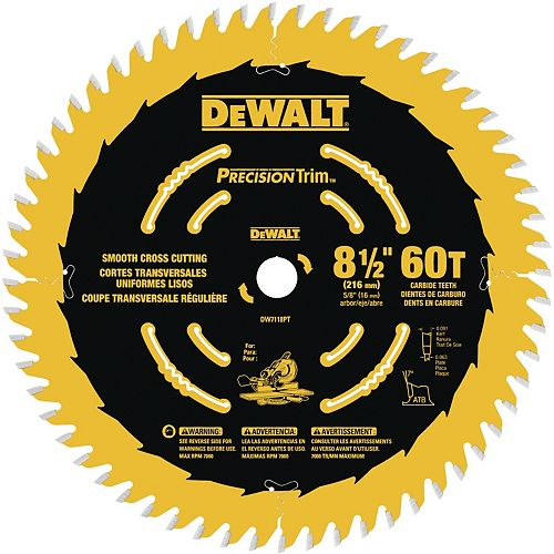 8-1/2-inch 60 Tooth Precision Trim Fine Crosscutting Saw Blade with 5/8-inch Arbor (DW7118PT)