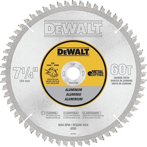 DEWALT 60 Teeth Aluminum Cutting 5/8-Inch Arbor, 7-1/4-Inch (DWA7758)