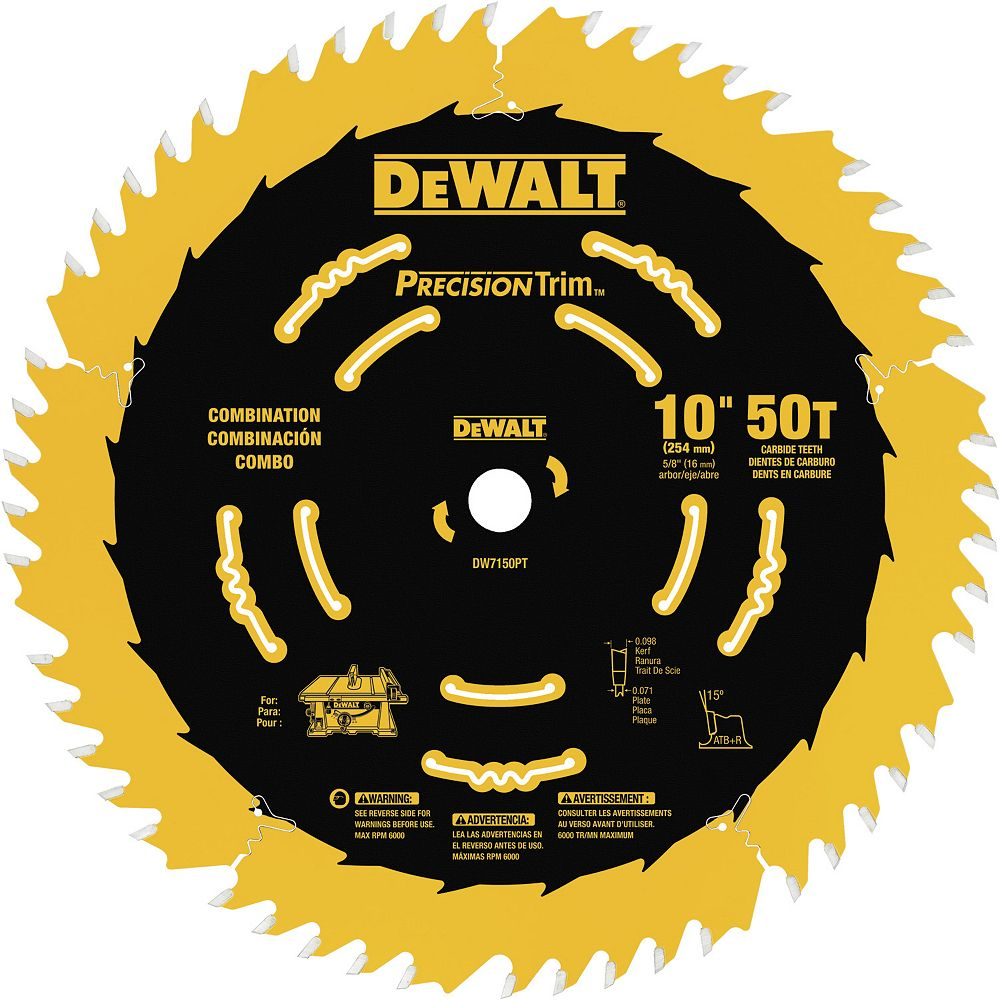 Dewalt 10-inch 50 Tooth ATB Combination Saw Blade with 5/8-inch Arbor and Tough Coat Finish (DW7150PT)