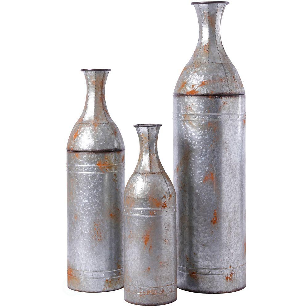 Vintiquewise Rustic Farmhouse Style Galvanized Metal Floor Vase Decoration, Set of 3