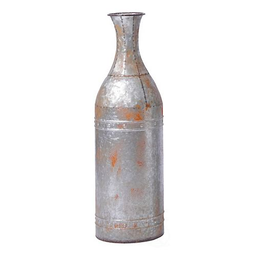 25  Rustic Farmhouse Style Galvanized Metal Floor Vase Decoration, Small