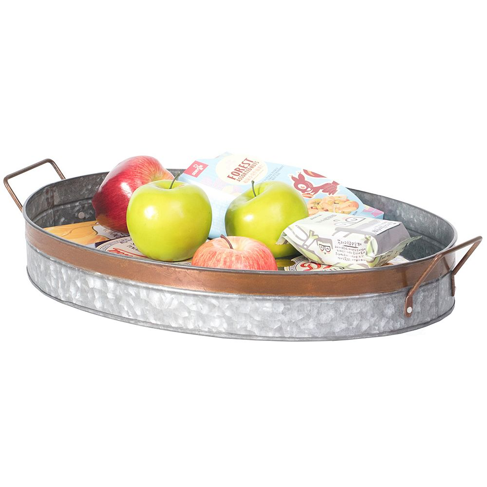 Vintiquewise Galvanized Metal Oval Rustic Serving Tray With Handles