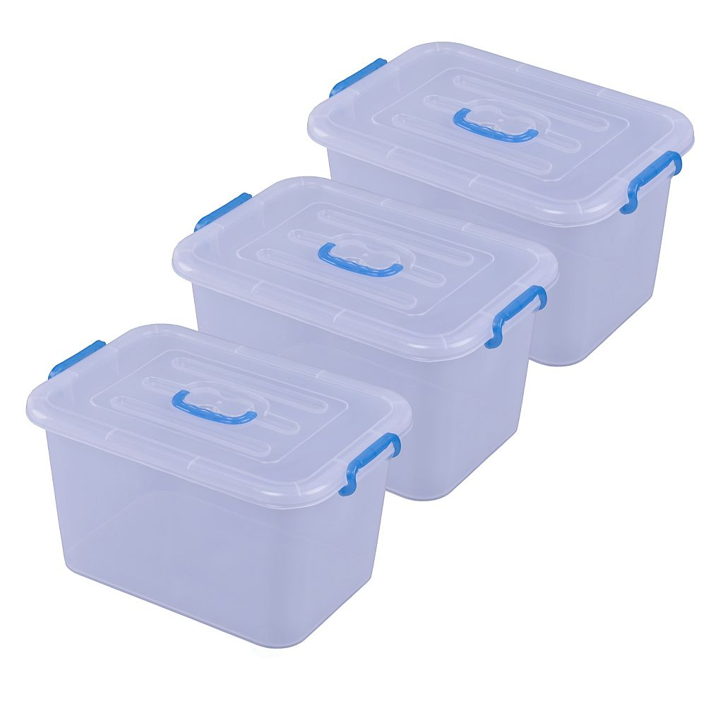 Basicwise Large Clear Storage Container With Lid and Handles, Set of 3