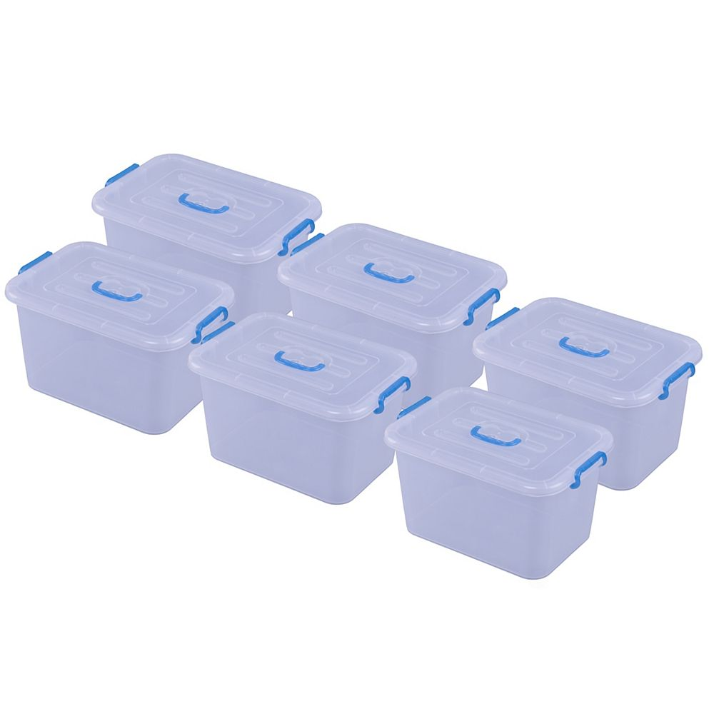 Basicwise Large Clear Storage Container With Lid and Handles, Set of 6