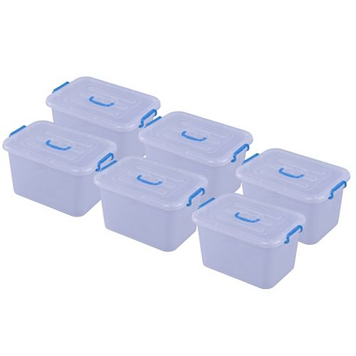 Large Clear Storage Container With Lid and Handles, Set of 6