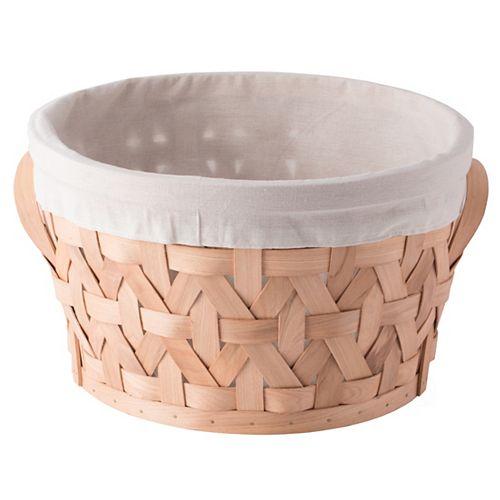 Wooden Round Storage Shelf Baskets with Liner Bins Boxes, Medium