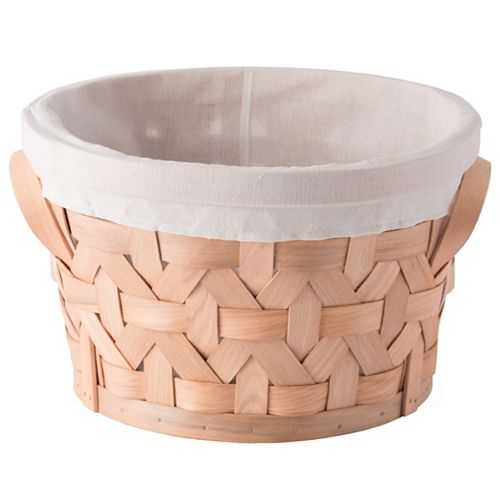Wooden Round Storage Shelf Baskets with Liner Bins Boxes, Small