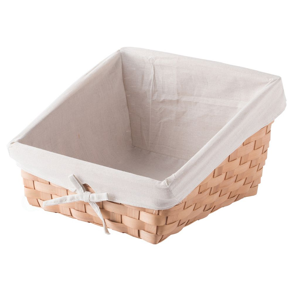 Vintiquewise Wooden Angled Display Basket with Fabric Liner for Storage and Display