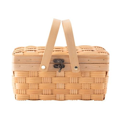Small Woodchip Picnic Basket with Cover and Folding Handles