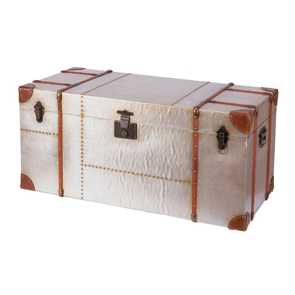 Vintiquewise Industrial Wooden Aluminum Storage Trunk with Lockable Latches, Large