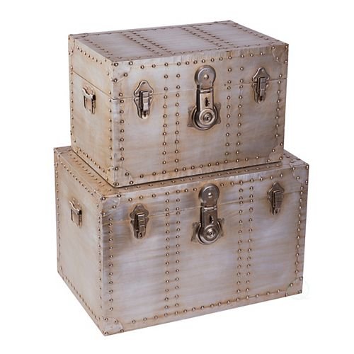Industrial Wooden Aluminum Storage Trunk with Lockable Latches, Set of 2