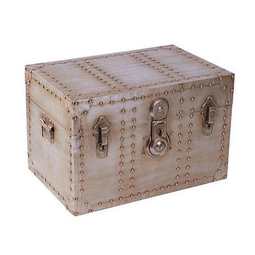Industrial Wooden Aluminum Storage Trunk with Lockable Latches, Small