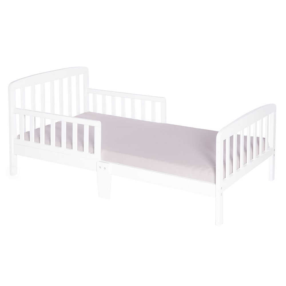 Bold Tones Classic Wooden Boys Girls Toddler Kids Bed Frame with Double Adjustable Guard Rails, White