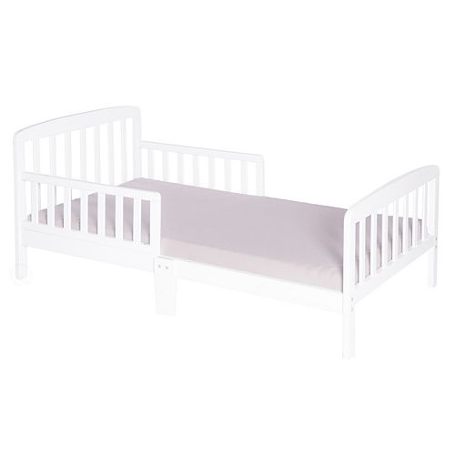 Classic Wooden Boys Girls Toddler Kids Bed Frame with Double Adjustable Guard Rails, White