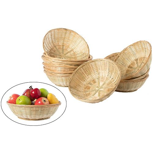 Set of 12 Round Bamboo Serving Wicker Bread Roll Baskets Display Tray, Large