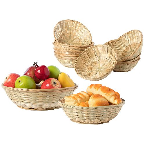 Set of 24, 12 Large and 12 Small Round Bamboo Serving Wicker Bread Roll Baskets Display Tray