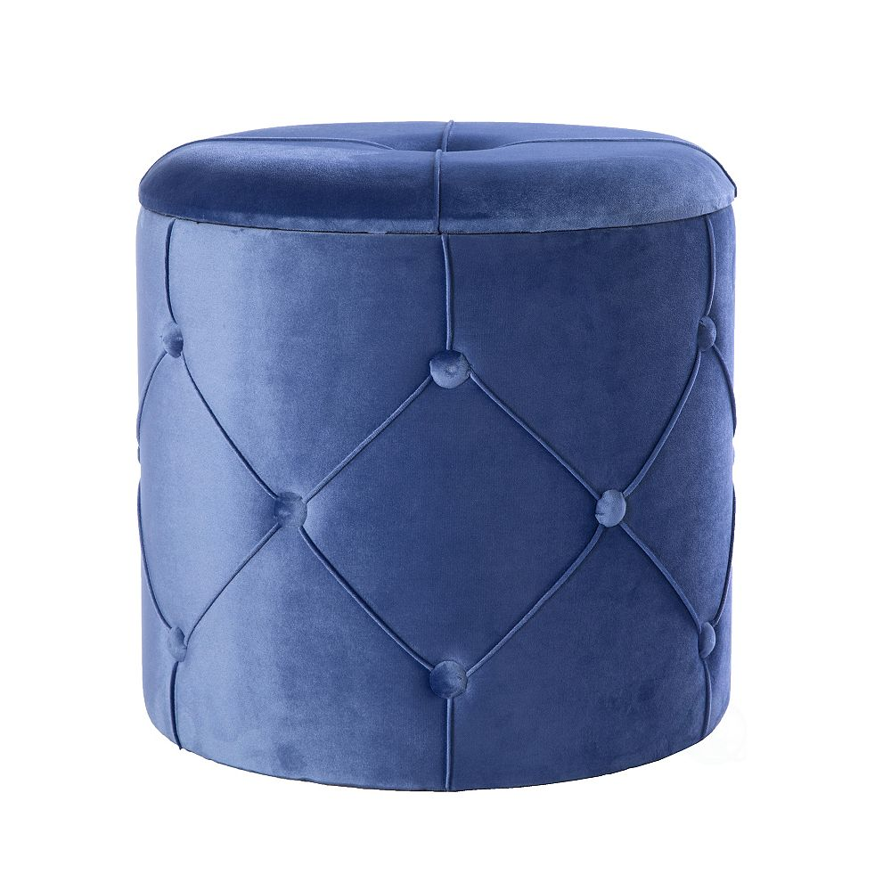 Bold Tones Round Wooden Velvet Ottoman Stool with Lid, Blue
