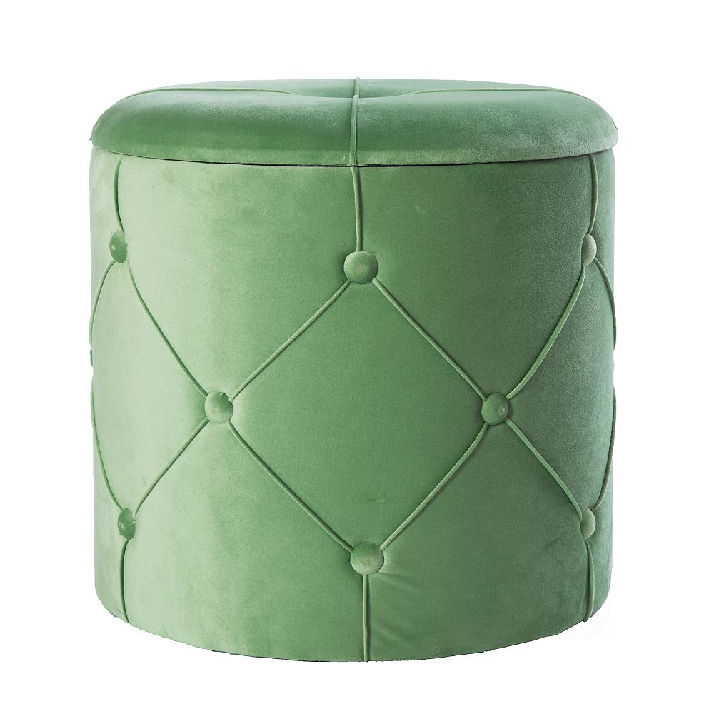 Bold Tones Round Wooden Velvet Ottoman Stool with Lid, Green