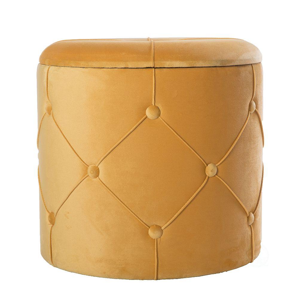 Bold Tones Round Wooden Velvet Ottoman Stool with Lid, Yellow