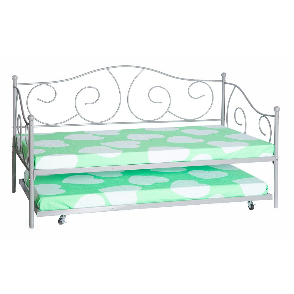 Bold Tones Twin Metal Daybed with Trundle, Silver Grey