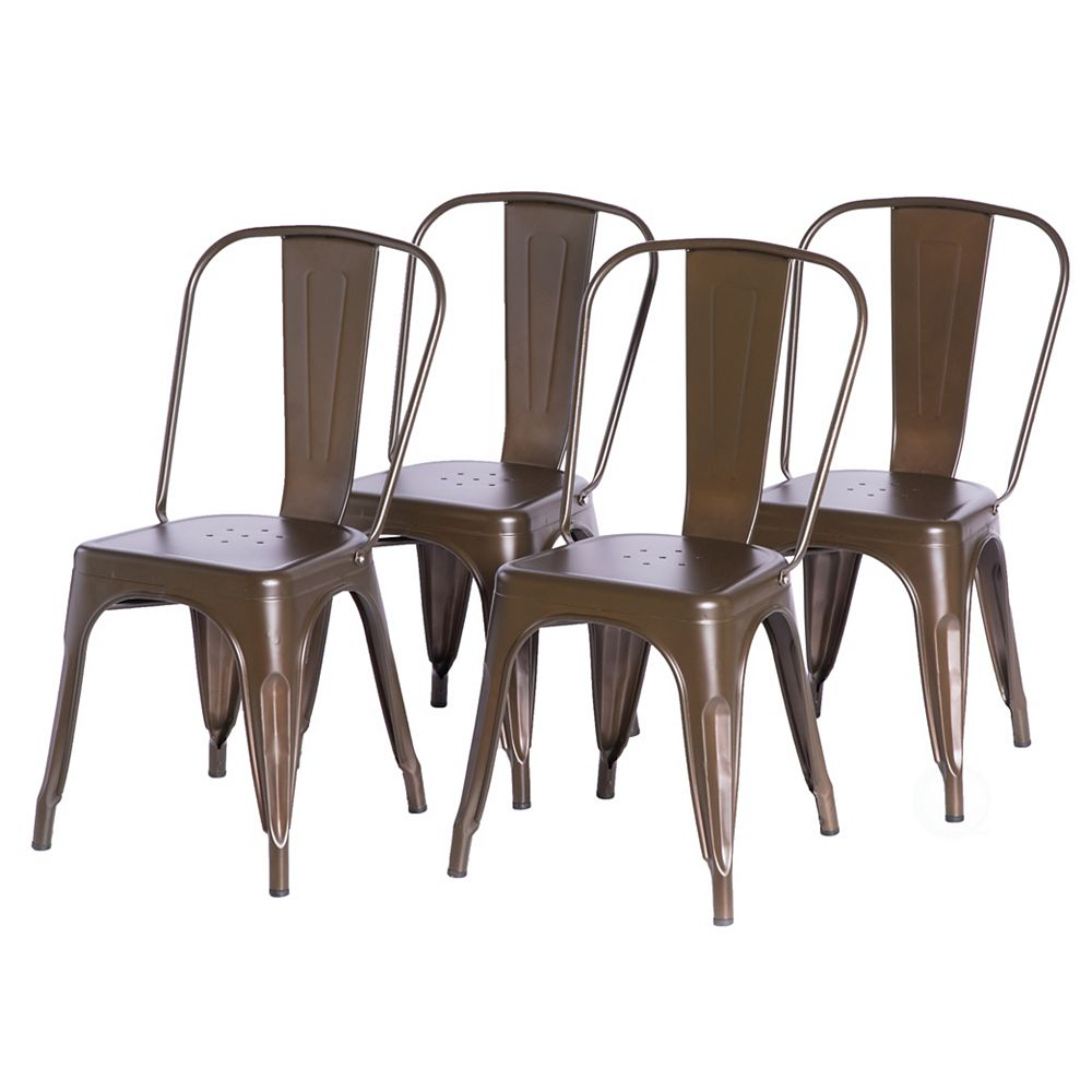 Bold Tones Bronze Industrial Metal Dining Bistro Chair with Back, Set of 4