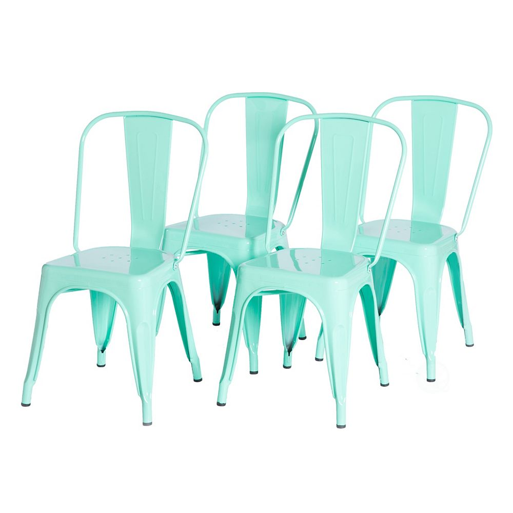 Bold Tones Green Industrial Metal Dining Bistro Chair with Back, Set of 4