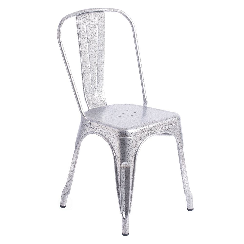 Bold Tones Silver Industrial Metal Dining Bistro Chair with Back