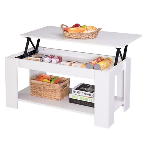Modern Wood Coffee Table with Lift Tabletop, White