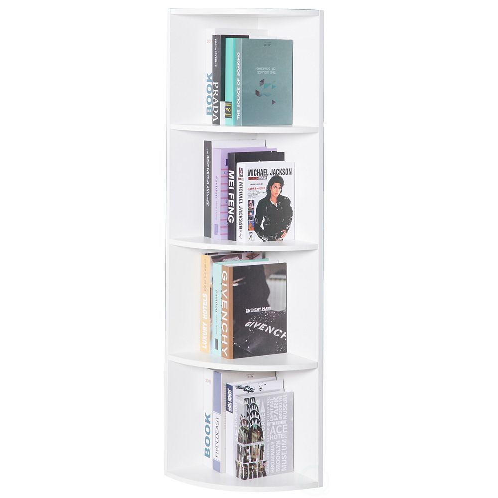 Basicwise Wall Corner 4 Tier Shelves Bookcase, White