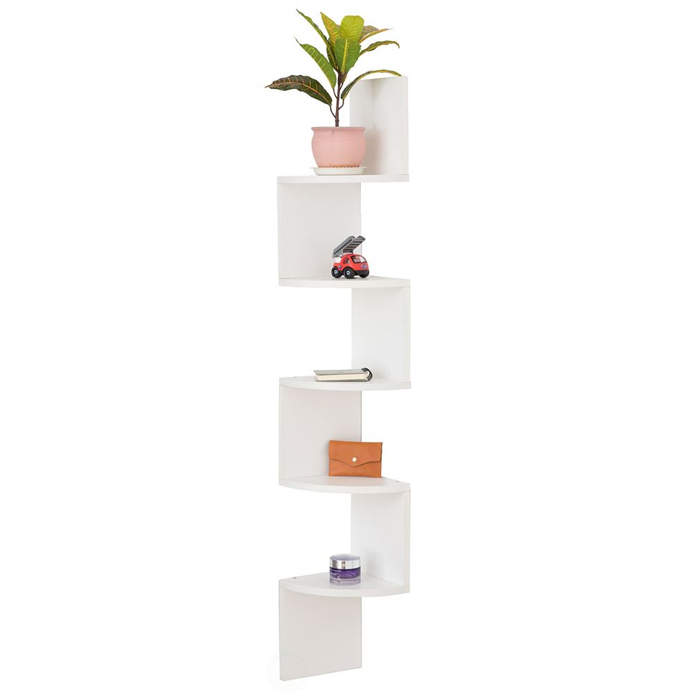 Basicwise 5 Tier Wall Mount Corner Shelf, White