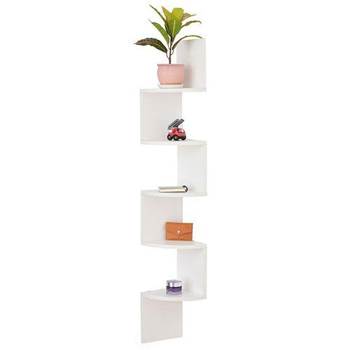 Basicwise 5 Tier Wall Mount Corner Shelf, White