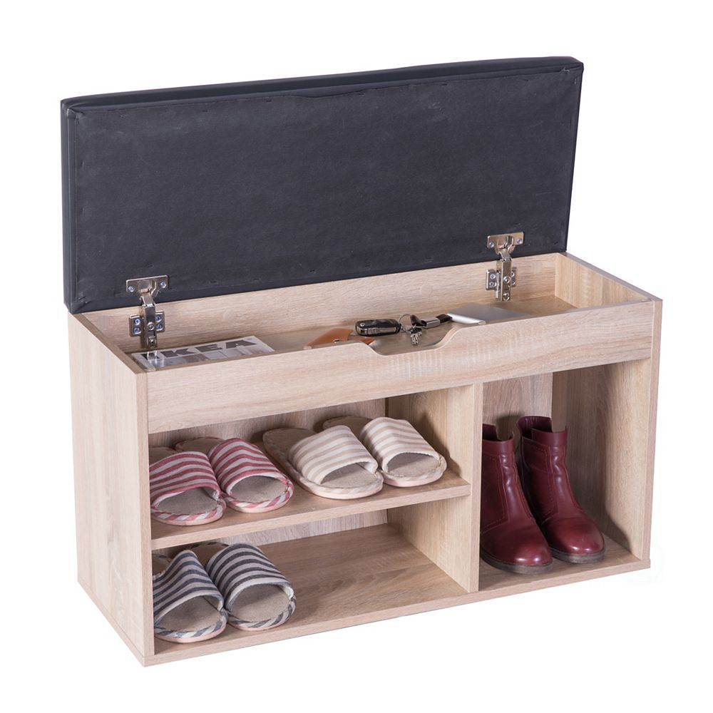 Basicwise Entryway Storage Shoe Rack with Top Seat, Oak