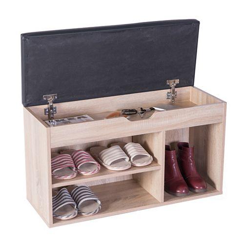 Entryway Storage Shoe Rack with Top Seat, Oak