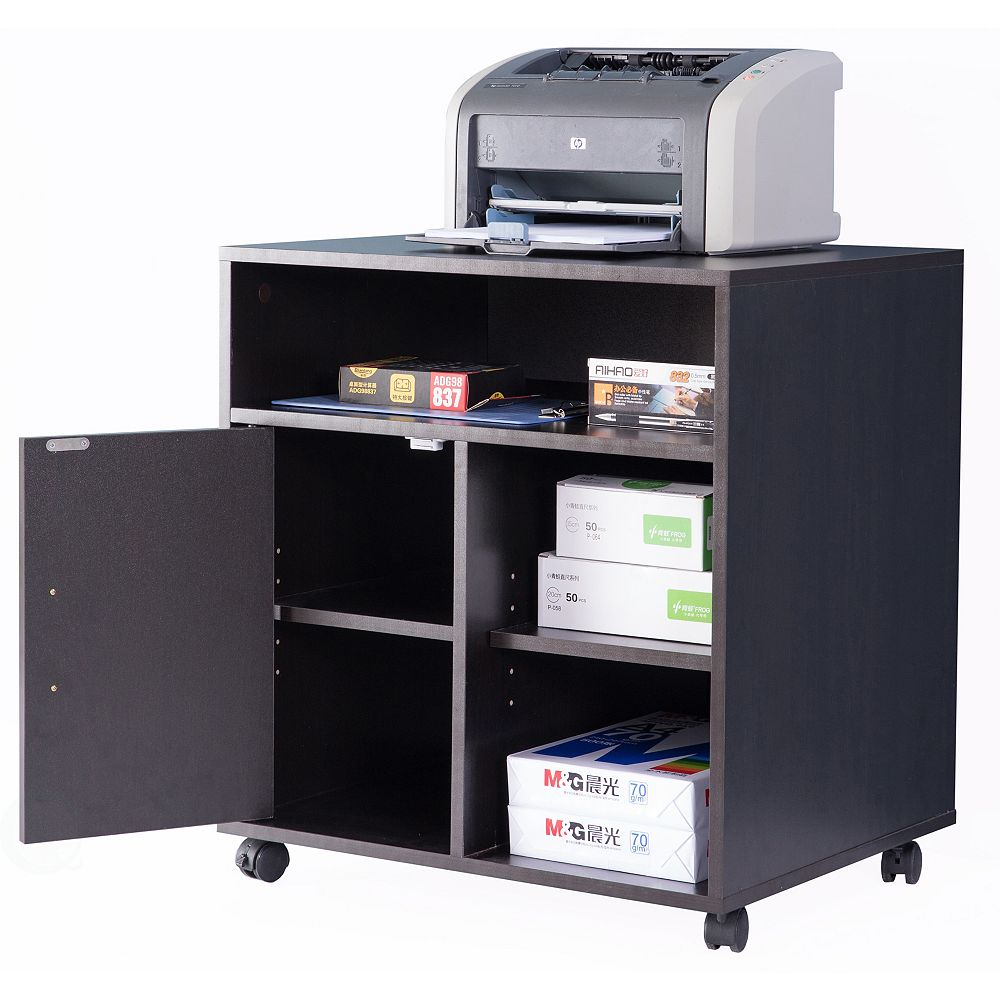 Basicwise Printer Kitchen Office Storage Stand With Casters, Black
