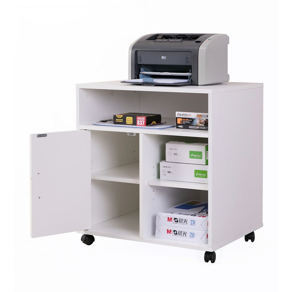 Basicwise Printer Kitchen Office Storage Stand With Casters, White