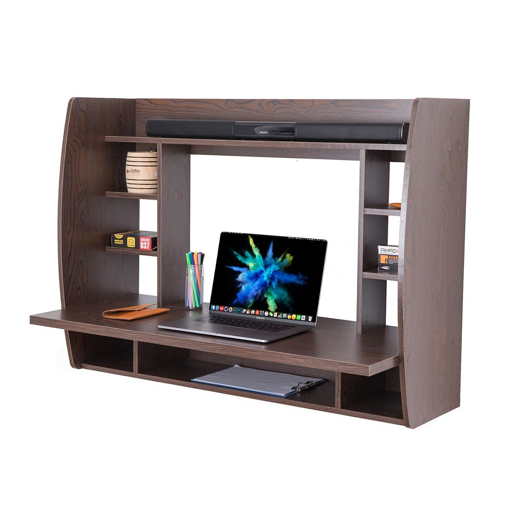 Basicwise Wall Mount Laptop Office Desk with Shelves, Brown