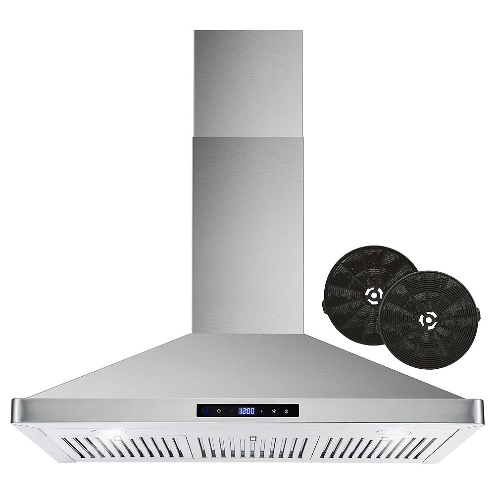 Cosmo 36 in. Ductless Wall Mount Range Hood in Stainless Steel with Touch Controls